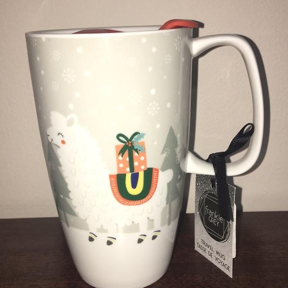 Ceramic Holiday Llama Travel Mug